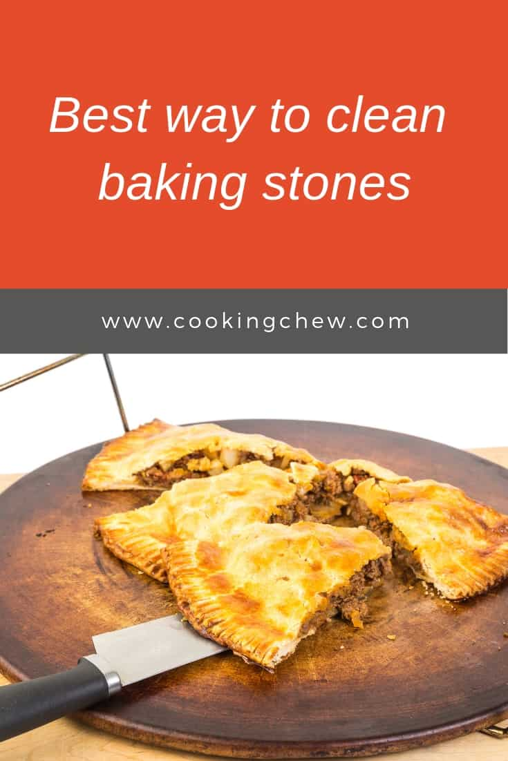 How to clean a baking stone? The trick is to scrape and keep scraping your baking stone. Once the large particles of food are gone, use a cloth with water ONLY to rub off what remains on the stone. Then follow the instructions here. #baking #pizza #kitchentools