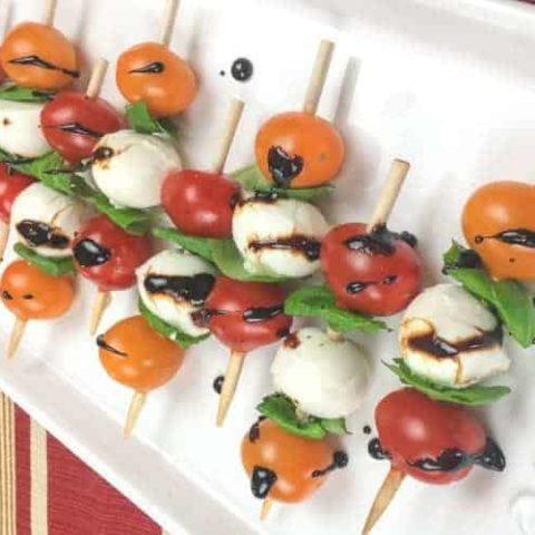 Caprese Salad Skewers Recipe (With Balsamic Glaze)