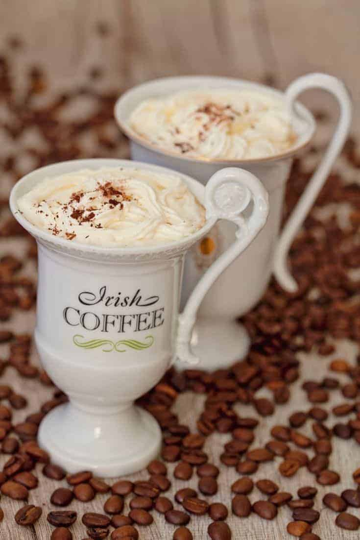This delicious recipe brings together your favorite coffee, Irish cream, and your homemade pumpkin spice mix and whipped cream to create your own treat.  #IrishCoffee #FunDrinks #Recipe