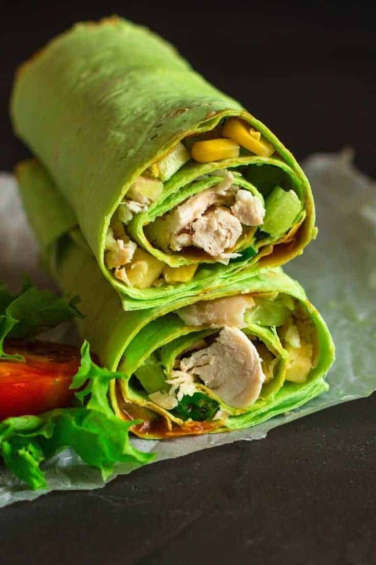 Delicious, quick, and easy, this great ranch chicken wrap recipe can be made with leftovers! This healthy chicken wrap recipe is a great choice for lunch or dinner.  #Chicken #Recipe #Wraps
