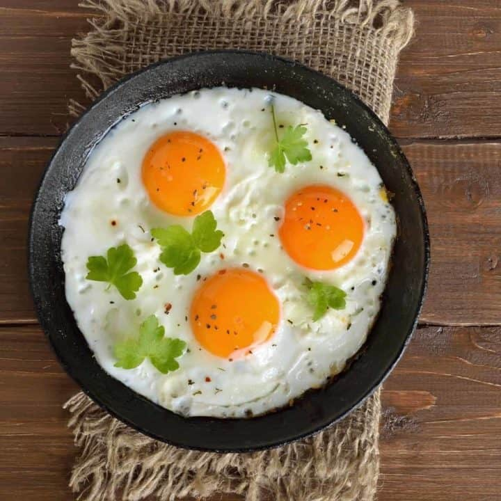 Frying eggs in the cast iron skillet